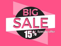 Big sale, special offer. Discount of 15%. Banner template design. Vector. Illustration stock illustration