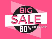 Big sale, special offer. Discount of 80%. Banner template design. Vector. Illustration Vector Illustration