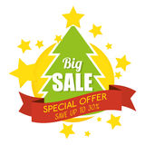 Big sale special offer merry christmas tree banner. Vector illustration eps 10 Royalty Free Stock Photo