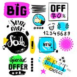 Big sale, special offer, new offer, numbers crazy doodles. Hand drawing multicolored different shapes. Doodle style brushes. Set o Stock Photography