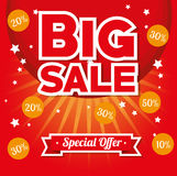 Big sale special offer stars bright red background Royalty Free Stock Images