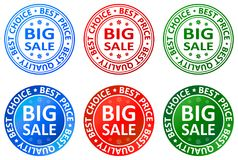 Big sale stamp and label icon. Illustration of big sale stamp and label icon on white background Stock Photos