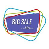 Big sale sticker with abstract colorful chaotic lines around. Vector illustration royalty free illustration