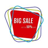 Big sale sticker with abstract colorful chaotic lines around. Vector illustration Stock Images