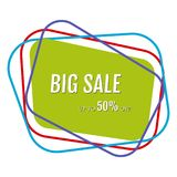 Big sale sticker with abstract colorful chaotic lines around. Vector illustration Royalty Free Stock Image