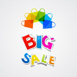 Big Sale Sticker Title and Colorful Bags Royalty Free Stock Photo
