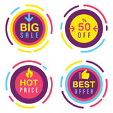 Big-Sale-Stickers. Set of different promo sales stickers in different colors with the sounds text. Big Sale, discount, best offer, hot price stickers. Great Stock Photos