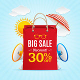 Big Sale Summer Concept Banner Card or Poster. Vector Stock Photo
