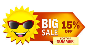 Big sale. Summer sale illustration with sun wearing sunglasses on white Royalty Free Stock Photo