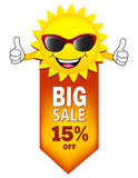 Big sale. Summer sale illustration with sun wearing sunglasses on white Royalty Free Stock Image