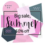 BIG SALE SUMMER 50% OFF Lettering design. BIG SALE SUMMER background loyout. Lettering design for banner, flyer, invitation, poster, greeting card, discount vector illustration