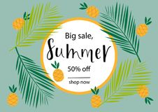 BIG SALE, SUMMER 50% OFF, Lettering design. BIG SALE, SUMMER 50% OFF-background loyout. Lettering design for banner, flyer, invitation, poster, greeting card Royalty Free Illustration