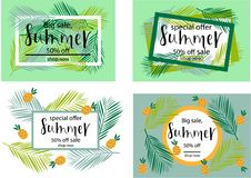 BIG SALE SUMMER 50% OFF SET Lettering design. BIG SALE SUMMER SET background loyout. Lettering design for banner, flyer, invitation, poster, greeting card Stock Illustration