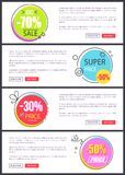 -70 Big Sale and Super Price Vector Illustration. 70 big sale and super price, collection of web pages with circular labels and headline inside of them, text Stock Photo
