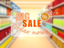 Big sale in supermarket, concept poster Stock Images