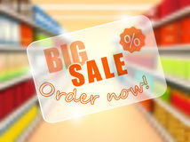 Big sale in supermarket, concept poster. Vector Royalty Free Stock Photography