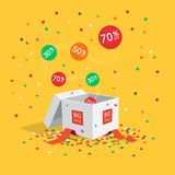Big sale symbol with gift box, flying labels and confetti. Isolated on yellow background. Easy to use for your design with transparent shadows royalty free illustration