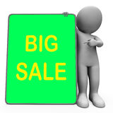 Big Sale Tablet Character Shows Promotional Royalty Free Stock Images