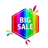 Big sale offer rainbow tags. Big sale tag. Abstract triangle red price sticker for discount decoration. Shopping geometric banner Royalty Free Stock Photo