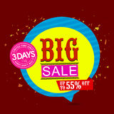 Big Sale Tag or Banner design. Big Sale with Upto 55% Off for Limited time only, Creative Sale Paper Tag or Banner design, Colorful  illustration Royalty Free Stock Image