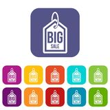 Big sale tag icons set. Vector illustration in flat style in colors red, blue, green, and other Stock Photos