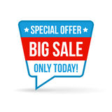 Big sale tag for online shop in flat design. Use on labels, stickers and icons Stock Photo