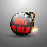 Big Sale Tag on Round Bomb With Burning Fuse. Vector Illustration Royalty Free Stock Photo