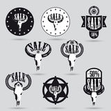 Big sale tag set with western design Royalty Free Stock Images