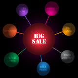 Big sale tags. Big sale colorful abstract design tags  illustration Royalty Free Stock Image