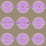 Big Sale tags with 50 percent text Stock Photo