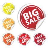 Big Sale tags with Sale up to 10 - 50 percent text on circle tags. Big Sale tags with Sale up to 10% - 50% text on circle tags Royalty Free Stock Photos