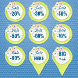 Big Sale tags with Sale up to 20 - 80 percent text Stock Image