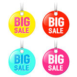 Big sale tags set isolated on white background. Vector illustration.  Royalty Free Stock Photography