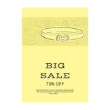 Big sale template banner. Pattern of accessories and a belt. Yellow shades. Vector illustration in hand drawing style for your des. Ign. EPS10 format Stock Image