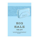 Big sale template banner. Pattern of accessories and a wallet or clutch. Blue shades. Vector illustration in hand drawing style fo Stock Photo