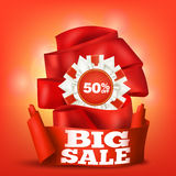 Big sale template card with red ribbons. Vector illustration Royalty Free Stock Photography