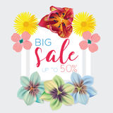 Big sale template with flowers background frame vector illustration. Banner, flyer, invitation, posters, brochure Stock Photo