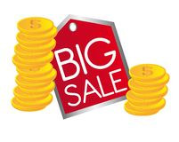 Big sale text. With gold coins. vector illustration Stock Photography