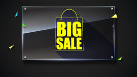 Big sale text banner on black backdrop. Ready to print and use in advertising of products. Selling ad poster for black. Friday action with sign of shopping bag Stock Photo