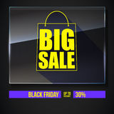 Big sale text banner on black backdrop. Ready to print and use in advertising of products. Selling ad poster for black. Friday action with sign of shopping bag Stock Images