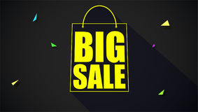 Big sale text banner on black backdrop.. Ready to print and use in advertising of products. Selling ad poster for black friday action and for shops with sign of Stock Photos