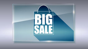 Big sale text banner on gray backdrop. Ready to print and use in advertising of products. Selling ad poster for selling. Action with symbol of shopping bag on Royalty Free Stock Images