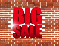 Big sale text breaking a brick wall. business sign. Illustration design icon graphic Royalty Free Stock Photos