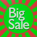Big sale text 3d rendering. Big sale text in a colorful background 3d rendering Royalty Free Stock Image