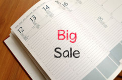 Big sale text concept on notebook Stock Photography