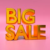 Big sale text 3d rendering. Golden color Big sale text 3d rendering Stock Images