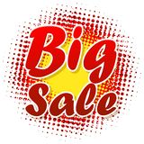 Big sale text on halftone pattern. Royalty Free Stock Images