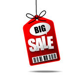 Big Sale text with hanging tag banner label Stock Photo