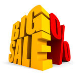 BIG SALE text with percent symbol on white background Royalty Free Stock Image