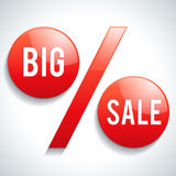 Big Sale Text on Percentage Sign. Red discount symbol on grey background royalty free illustration